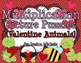 Multiplication Picture Puzzles {Valentine Animals}