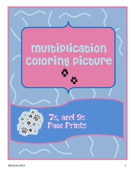 Multiplication Picture paw Prints - 7s and 9s math facts