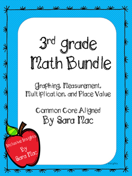 Third Grade Multiplication, Place Value, Measurement, and Graphing Worksheets