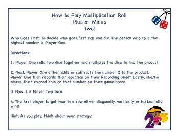 Multiplication Roll Plus or Minus 2 No Prep Dice Game!