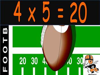 Multiplication PowerPoint 4s- Football Theme