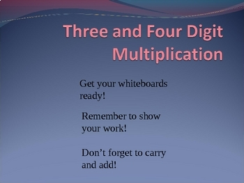 Multiplication PowerPoint Game 3 and 4 digit x 1 digit