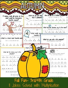 Fall Multiplication Worksheets: Jokes Solved with Single Digit Multiplication