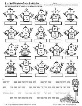 Multiplication Practice Activity: 2-digits by 3-digits ~ Crack the Code