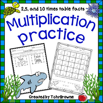 Multiplication Practice - 2, 5, 10 times tables