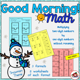 Multiply a two-digit number by a one-digit number without renaming-Snowman theme