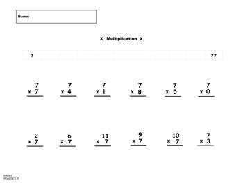 Multiplication Practice 7, 8, 9, 10, 11