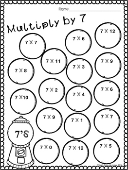 Multiplication Practice:  7's-9's and Mixed Review