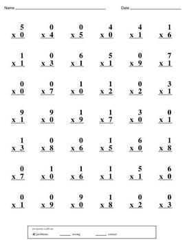 Multiplication Practice Book (0, 1, 2, 3)