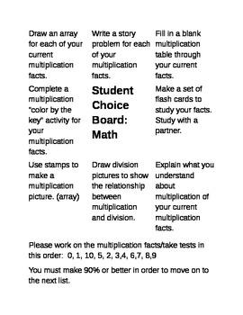 Multiplication Practice Choice Board