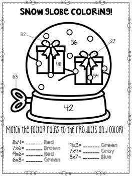 Multiplication Practice Coloring Pages-Holiday Theme
