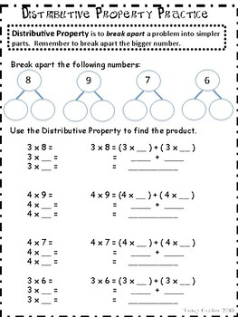 Multiplication Practice : Distributive Property and Break Apart Methods