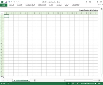 Multiplication Practice Excel Worksheet