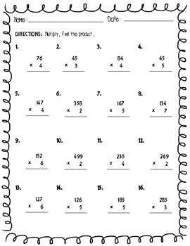Multiplication Practice - Extended Facts, Multiplying Ones, Tens, and Hundreds