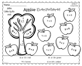 Multiplication Facts ~Fall~ Color by Code, Task Cards~ 3.OA.3, 3.OA.7