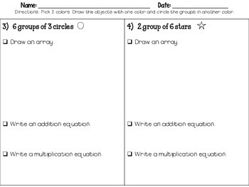 Multiplication Practice Freebie: Worksheets to introduce multiplication concepts