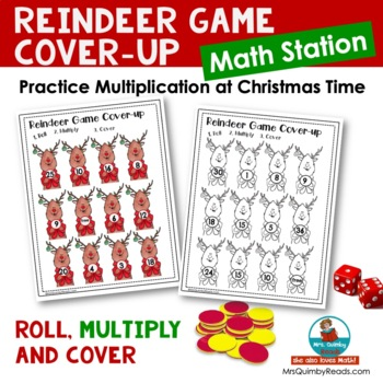 Multiplication Practice - Math Station - Reindeer Cover-Up- [Times Tables to 6]