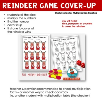 Multiplication Practice | Math Station | Reindeer Cover-Up | [Times Tables to 6]