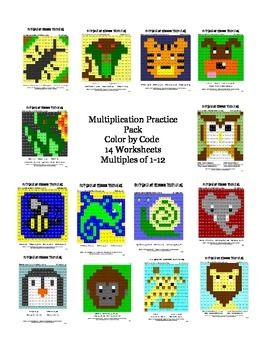 Multiplication Practice Pack Color by Code 14 Hidden Pictures Multiples 1-12