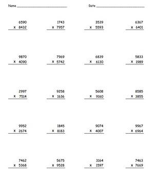 Multiplication Practice Packet 1x1, 2x1, 2x2, 3x1, 3x2, 3x3, 4x1, 4x2, 4x3, 4x4