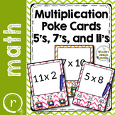 Multiplication Practice Poke Cards Facts 5, 7, and 11