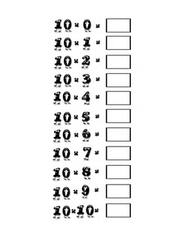 Multiplication Practice: Practicing multiplication table 1-10 practice sheets