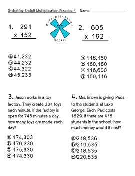 Multiplication Practice Problems 3 digit by 3 digit