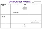 Multiplication Practice Recording Sheet