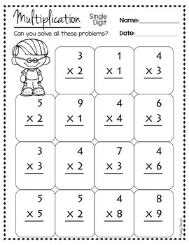 Math Practice Sheet - Multiplication Single Digit