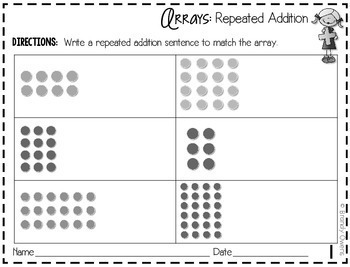 multiplication practice sheets arrays repeated addition equal groups. Black Bedroom Furniture Sets. Home Design Ideas