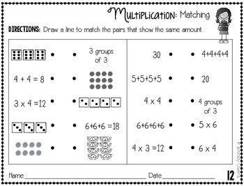 Multiplication Practice Sheets:  Arrays, Repeated Addition, Equal Groups