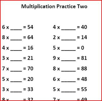 Multiplication Practice Sheets and Centers