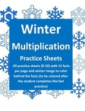 Multiplication Practice Sheets for Winter (facts 0-10)