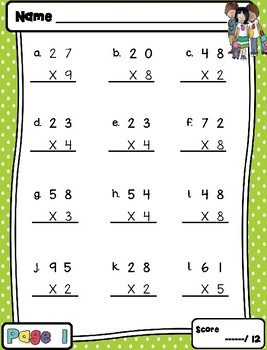 Multiplication Practice: Two Digit By 1 Digit