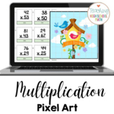 Multiplication Practice Two Digit by Two Digit Pixel Art G