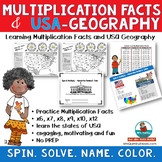Multiplication Practice & USA States & Capitals- Math and Geography