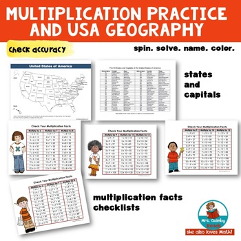 Multiplication Practice & USA States & Capitals   Math and Geography