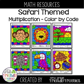 Multiplication Practice Worksheets - Safari Themed - Color by Code