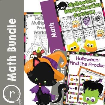 Multiplication Practice and Halloween Math Game Bundle