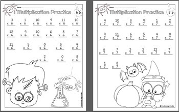 Multiplication Practice and Halloween Math Game Bundle
