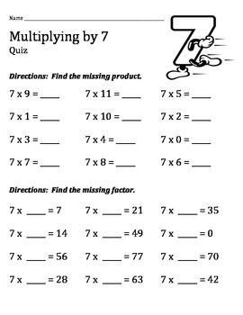 Multiplication Practice and Quiz Sheets for the 2 Through 12 Times Tables
