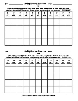 Multiplication Practice and Timed Tests