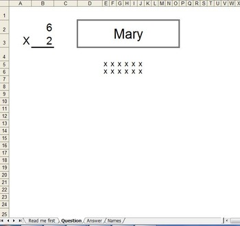 Multiplication Facts Practice: Facts from 0 to 20, and Students' Names
