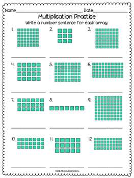 multiplication array worksheets by all about elementary tpt. Black Bedroom Furniture Sets. Home Design Ideas