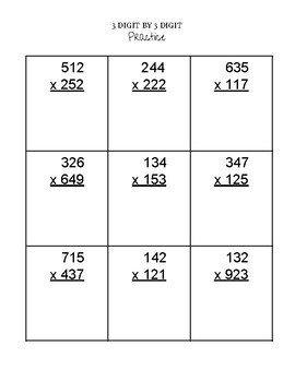 Multiplication Practice (Standard Algorithm) with Reference Sheet!