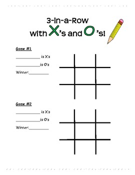 Multiplication Practice/Activity (3-in-a-Row with X's & O's!)