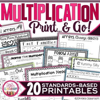 Multiplication Facts Practice - Print & Go Multiplication Activities 3rd Grade