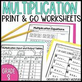 Multiplication Worksheets, Games and Task Cards (Grade 3)