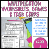 Multiplication Worksheets, Games and Task Cards (Grade 3)