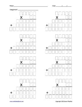 Multiplication Problem Organizer 5-digit by 2-digit